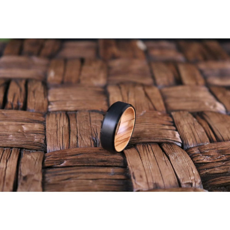 Beveled Mens Black Tungsten Wedding Band with Olive Wood Sleeve - 8mm