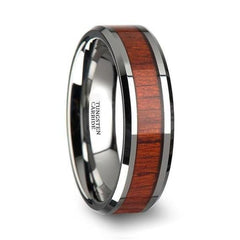 Beveled Mens Tungsten Wedding Ring With Real Padauk Wood Inlay 6mm - 10 mm - Ring