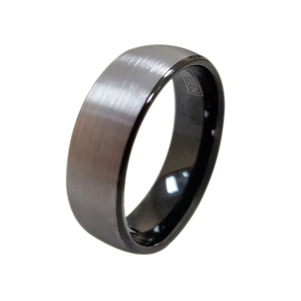 Bevin Tungsten Ring With Curved Brush Finish and Ion Plated Black On The Inside 6mm & 8mm