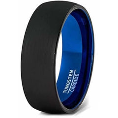 Black & Blue Brushed Center Domed Tungsten Carbide Ring For Him -6mm & 8mm