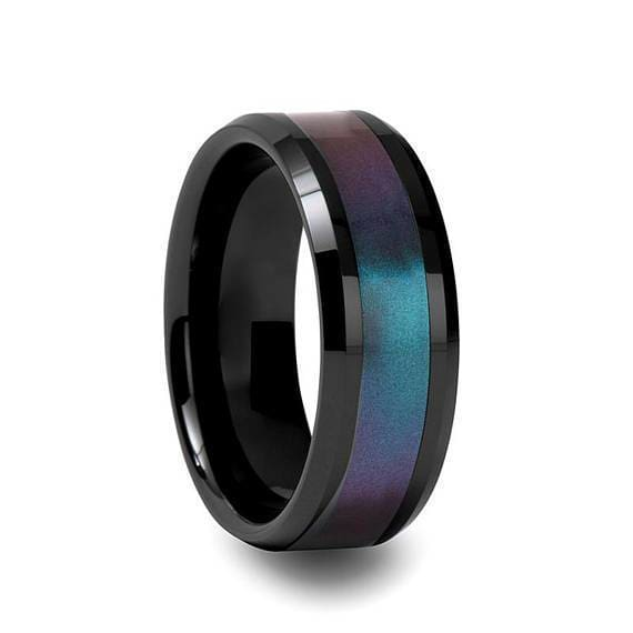 Black Ceramic Ring Blue Purple Color Changing Inlay Beveled Polished Finish 6mm - 10mm