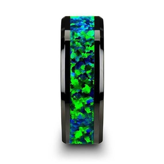 Black Ceramic Wedding Band Emerald Green & Sapphire Blue Color Opal Inlay 6mm & 8mm