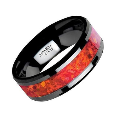 Black Ceramic Wedding Band Red Opal Inlay Beveled Polished Finish 4mm-8mm