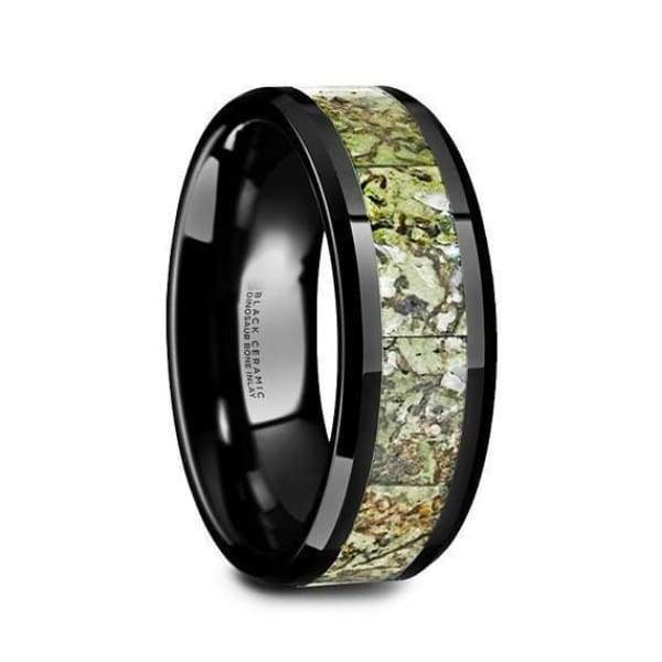 Black Ceramic Wedding Ring Green Dinosaur Bone Inlay Beveled and Polished Finish - 8mm