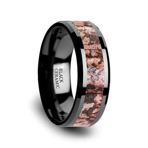 Black Ceramic Wedding Ring Pink Dinosaur Bone Inlay Beveled Polished Finish - 4mm & 8mm