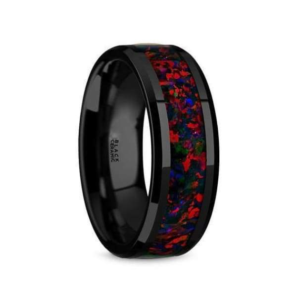 Black Ceramic Wedding Ring With Opal Inlay Beveled Polished Finish - 8mm