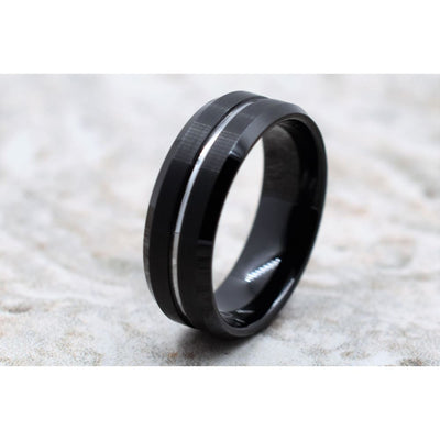 Black Tungsten Carbide Ring Brushed Finish with Silver Colored Center Groove 8mm