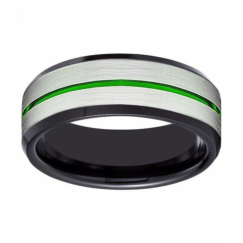 Black Tungsten Carbide Ring with Brushed Silver Center and Green Groove - 8mm