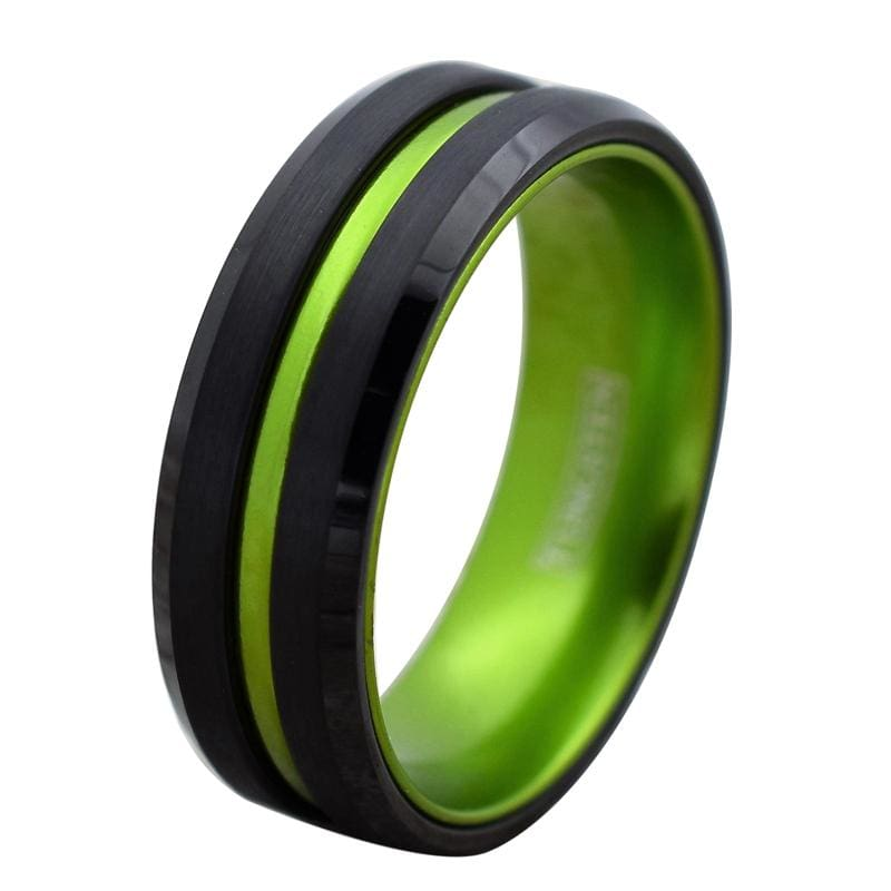 Black Tungsten Carbide Ring with Lime Green Grooved Center & Inside 6mm & 8mm