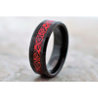 Black Tungsten Carbide Ring With Red Celtic Dragon Design Pattern 6mm & 8mm