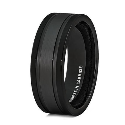 Black Tungsten Carbide Wedding Ring Brushed Double Groove Beveled Edge Comfort Fit - 8mm