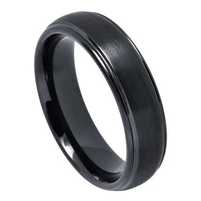 Black Tungsten Ring With Brushed Center High Polished Stepped Edges - 6mm & 8mm