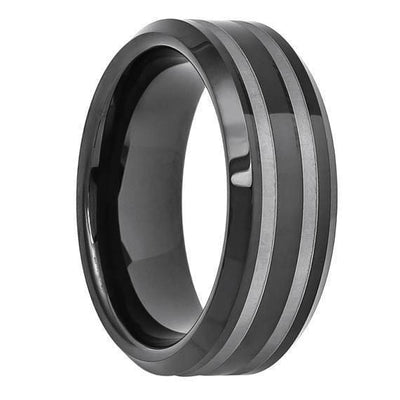 Black Tungsten Wedding Ring High Polish Double Line Groove & Beveled Edges - 8mm