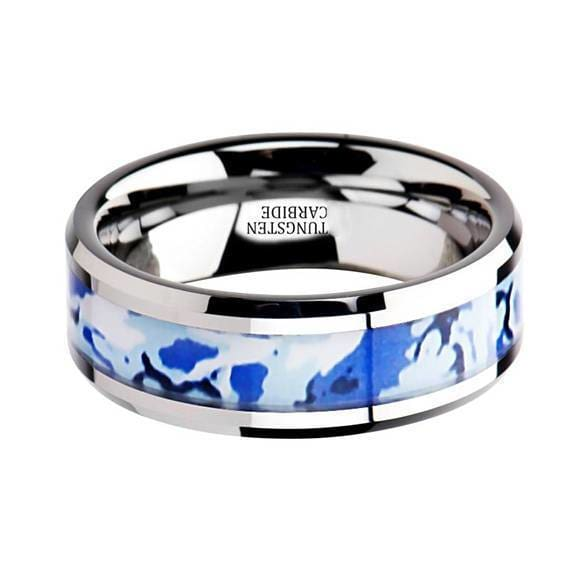 Blue and White Camouflage Tungsten Wedding Ring Beveled Polished Finish - 8mm