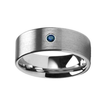 Blue Diamond Silver Tungsten Wedding Ring Flat Brushed with 1 Diamond 6mm & 8mm