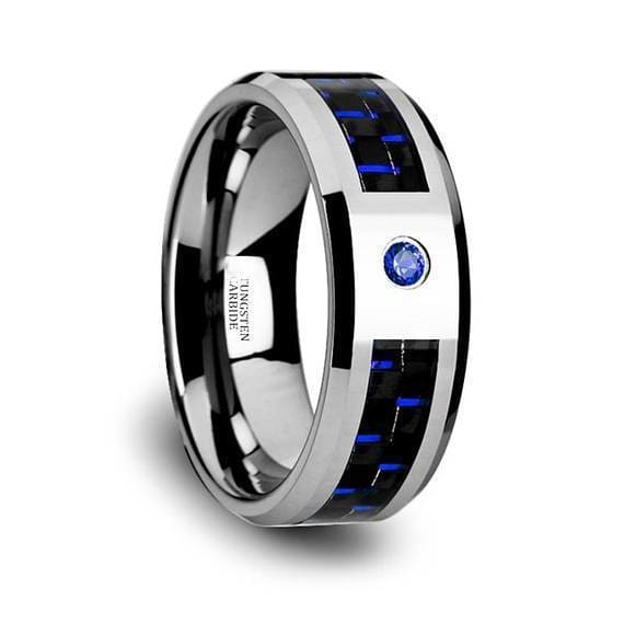 Blue Diamond Tungsten Band Black and Carbon Fiber Beveled Edges - 8mm
