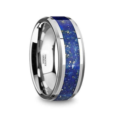 Blue Lapis Inlay Tungsten Wedding Band Beveled Polished Finish - 8mm