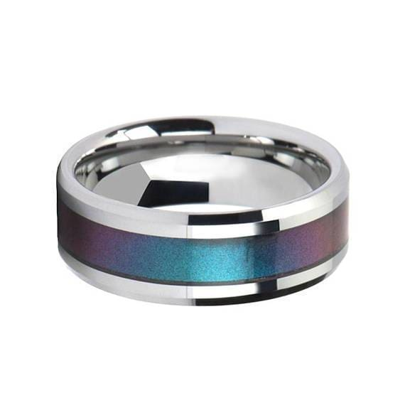 Blue Purple Tungsten Wedding Ring Color Changing Inlay Polished Finish 4mm-10mm