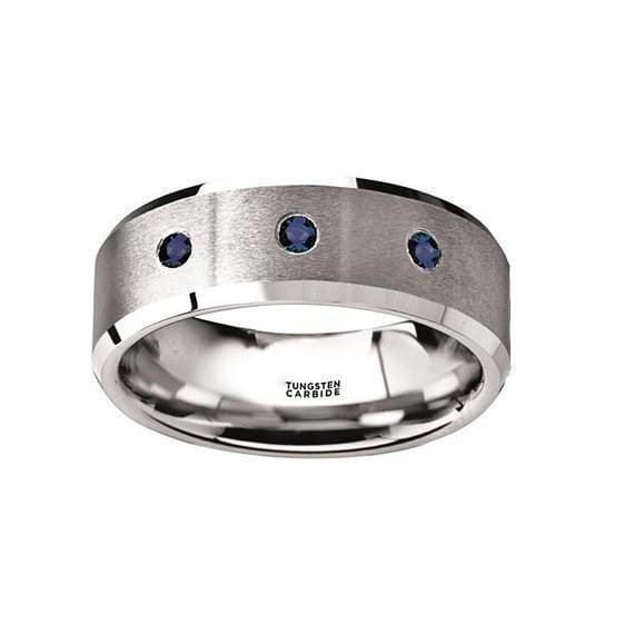 Blue Sapphires Silver Tungsten Wedding Ring Brushed Beveled Edges with 3 Blue Sapphires - 8mm