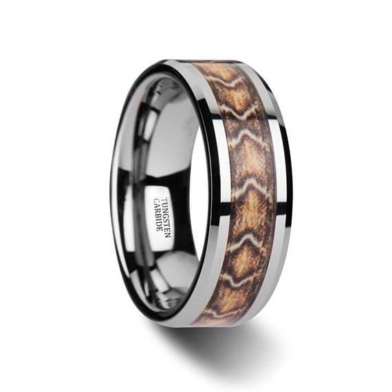 Boa Snake Skin Tungsten Wedding Ring Beveled Polished Finish - 8mm