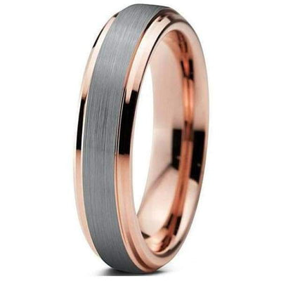 Brushed and Polished Tungsten Wedding Band 18K Rose Gold Stepped Edges 4mm-10mm