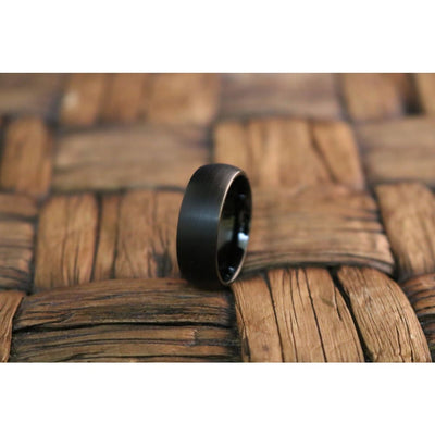 Brushed Black Classic Domed Tungsten Carbide Wedding Band - 6mm
