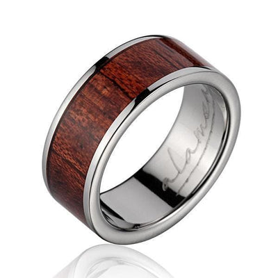 Caden Titanium Wedding Band Genuine Inlay Hawaiian Koa Wood Ring - 8mm