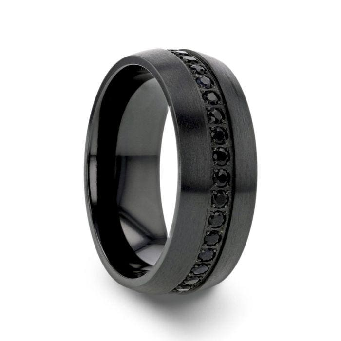 CALIX Men's Domed Black Titanium Ring with Multiple Sapphires 8mm