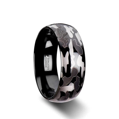 Carter Black and Grey Domed Camo Tungsten Wedding Band For Men - 8 mm