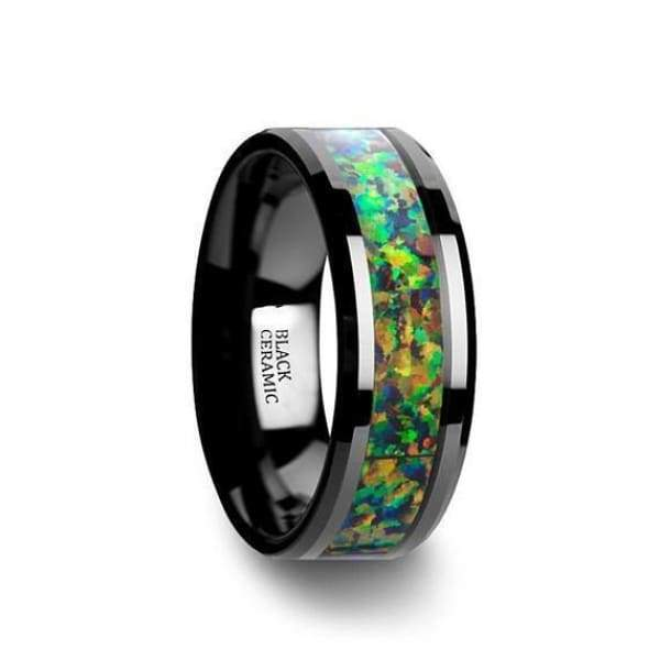 Ceramic Black Wedding Ring Blue & Orange Opal Inlay Beveled Polished Finish - 8mm