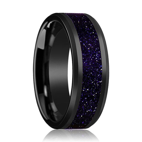 Ceramic Black Wedding Ring Purple Goldstone Inlay Beveled Polished Finish - 8mm