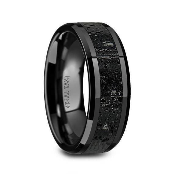 Ceramic Wedding Ring Black & Gray Lava Rock Stone Inlay Beveled Polished Finish 6mm 8mm