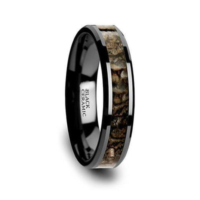Ceramic Wedding Ring Brown Dinosaur Bone Inlay Beveled Polished Finish - 4mm & 8mm
