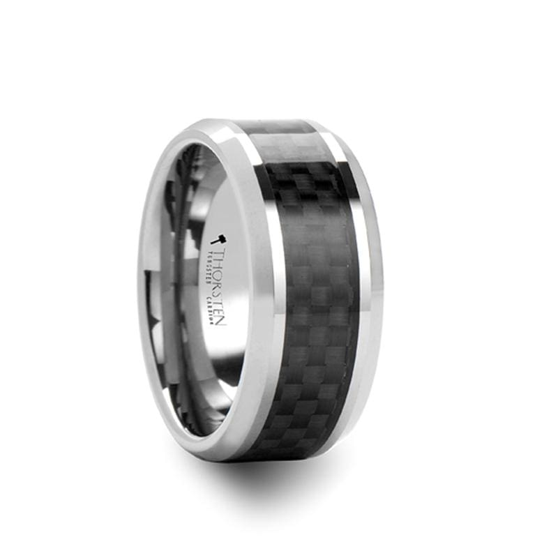 CHALCIS Mens Black Carbon Fiber Inlaid Tungsten Carbide Ring - 10mm