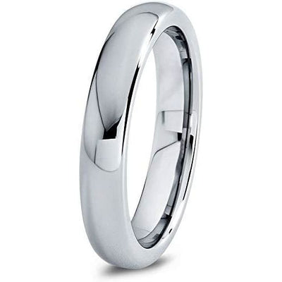 Classic Domed 4mm Highly Polished Womens Tungsten Carbide Wedding Band