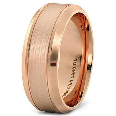 Classic Rose Gold Inlaid Tungsten Wedding Band With Brushed Center - 8mm