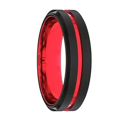 Colton Mens Black And Red Grooved Tungsten Wedding Band 6mm & 8mm