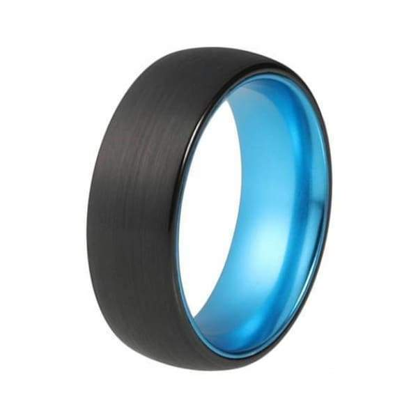 CONROE Men's Domed Black Tungsten Carbide Ring with Aqua Blue Inside - 8mm