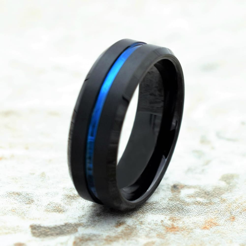 Corey Black & Blue Tungsten Wedding Band Ion Plated Stripe and Beveled Edges 6mm 8mm