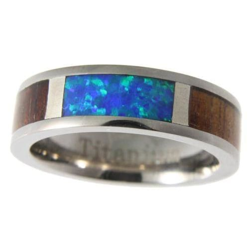 Damarion Titanium Band Genuine Hawaiian Koa Wood Inlay Opal Comfort Fit Ring - 6mm