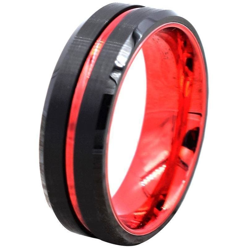 Devin Black Tungsten Wedding Ring W/ Ion Plated Red Stripe & High Polished Beveled Edges 6mm & 8mm