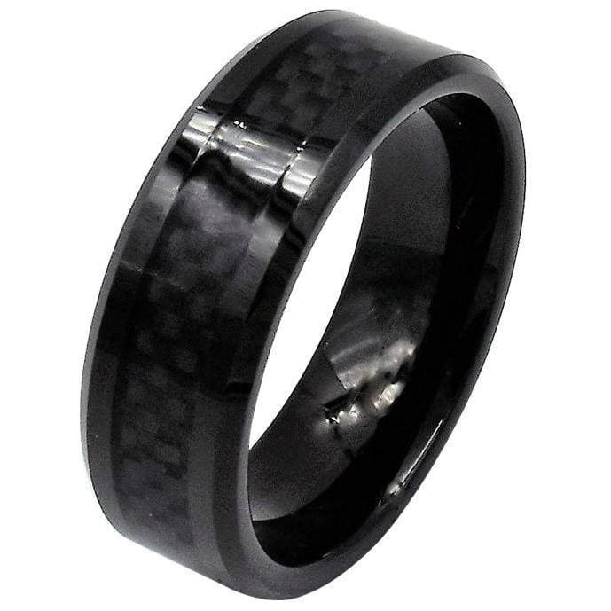 Devon Black Tungsten Wedding Band With Stunning Carbon Fiber Inlay 8mm