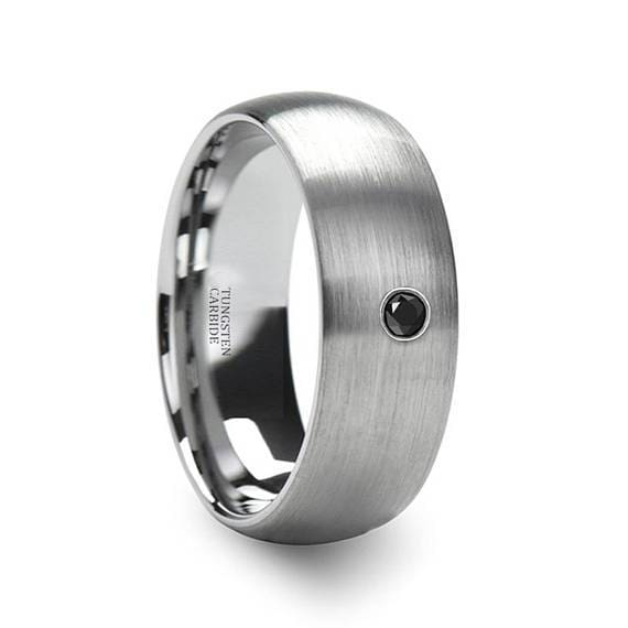 Domed Brushed Tungsten Carbide Ring with Black Diamond Setting Center 6mm & 8mm