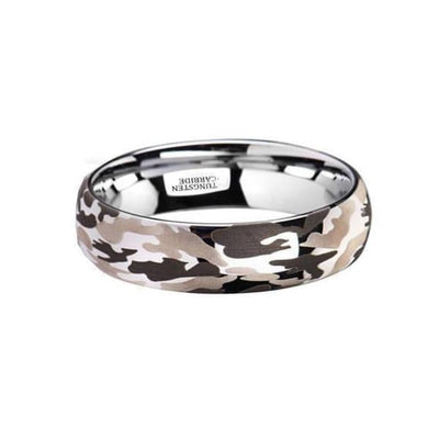 Domed Tungsten Black and Gray Camo Wood Wedding Ring For Men & Women 6mm - 10 mm
