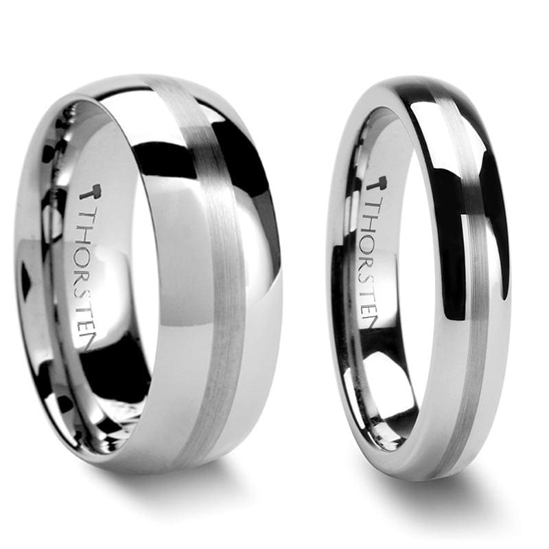 Domed Tungsten Carbide Wedding Band Set With Brushed Stripe Center - 4mm - 12mm