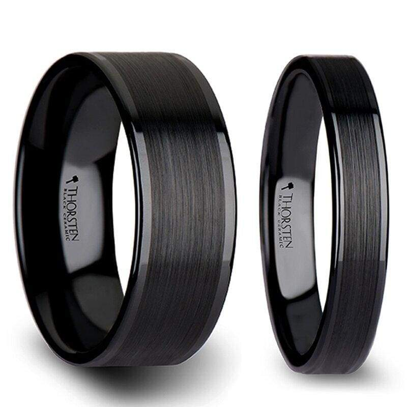 Eachann Couples Black Ceramic Wedding Band Set And Brush Center - 4mm - 12mm