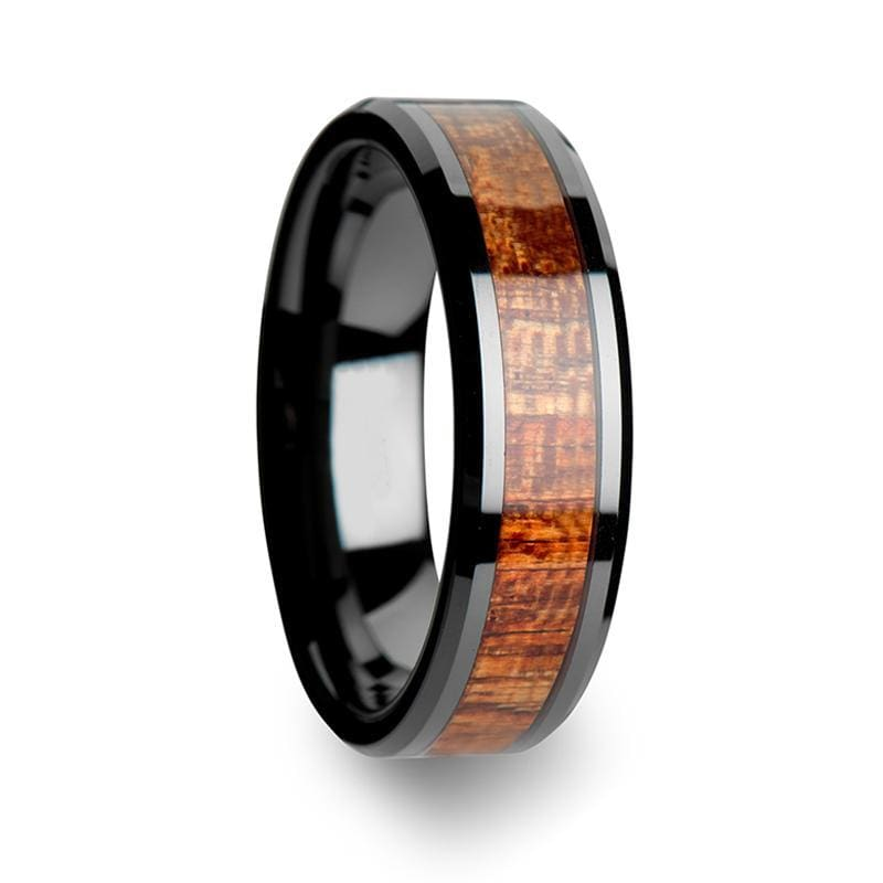 Exotic Mahogany Hard Wood Inlaid Black Ceramic Wedding Band 4mm-10mm