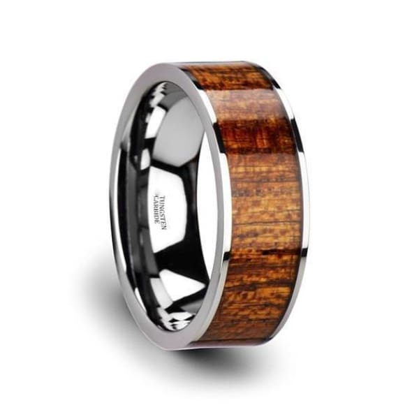 Exotic Mahogany Hard Wood Inlaid Tungsten Carbide Ring With Polished Edges - 8 mm - Ring
