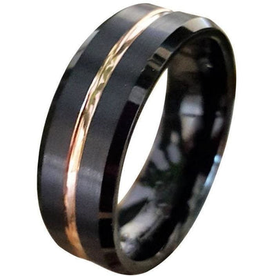 Exquisite Black Tungsten Ring W/ Ion Plated Rose Gold Stripe & High Polished Beveled Edges 6mm & 8mm
