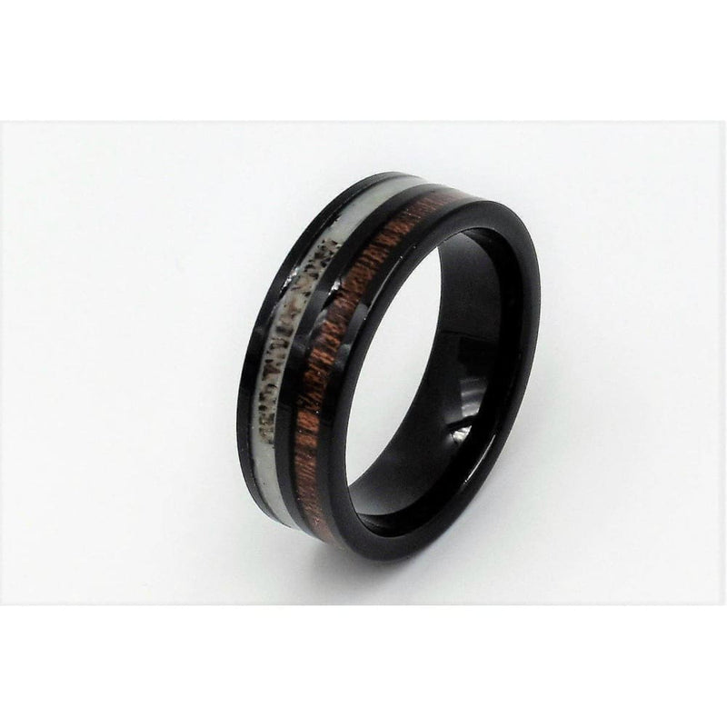 Exquisite Black Tungsten Wedding Band With Deer Antler and Hawaiian Koa Wood Inlay 8mm